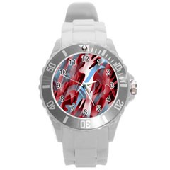 Blue And Red Smoke Round Plastic Sport Watch (l) by Valentinaart