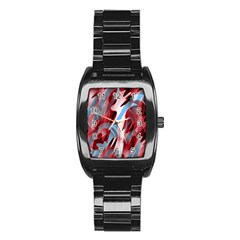 Blue And Red Smoke Stainless Steel Barrel Watch by Valentinaart