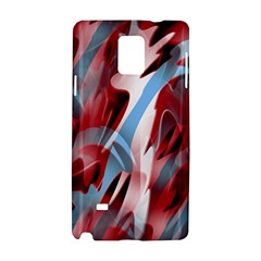 Blue And Red Smoke Samsung Galaxy Note 4 Hardshell Case by Valentinaart
