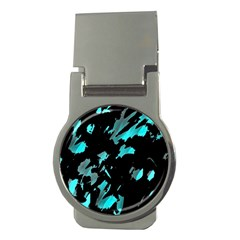Painter Was Here   Cyan Money Clips (round)  by Valentinaart