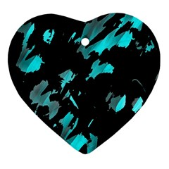 Painter Was Here   Cyan Heart Ornament (2 Sides) by Valentinaart