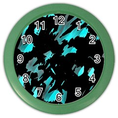 Painter Was Here   Cyan Color Wall Clocks by Valentinaart