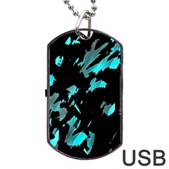 Painter Was Here   Cyan Dog Tag Usb Flash (one Side) by Valentinaart