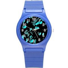 Painter Was Here   Cyan Round Plastic Sport Watch (s) by Valentinaart