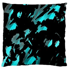 Painter Was Here   Cyan Large Cushion Case (one Side) by Valentinaart