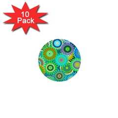 Funky Flowers A 1  Mini Buttons (10 Pack)  by MoreColorsinLife