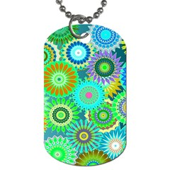 Funky Flowers A Dog Tag (two Sides) by MoreColorsinLife