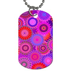 Funky Flowers C Dog Tag (two Sides) by MoreColorsinLife
