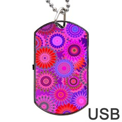 Funky Flowers C Dog Tag USB Flash (One Side) by MoreColorsinLife