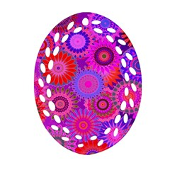 Funky Flowers C Oval Filigree Ornament (2 Side)  by MoreColorsinLife