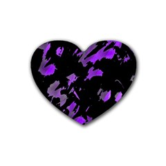 Painter Was Here   Purple Heart Coaster (4 Pack)  by Valentinaart