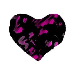 Painter Was Here   Magenta Standard 16  Premium Flano Heart Shape Cushions by Valentinaart