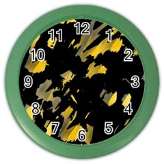 Painter Was Here   Yellow Color Wall Clocks by Valentinaart