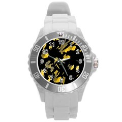Painter Was Here   Yellow Round Plastic Sport Watch (l) by Valentinaart