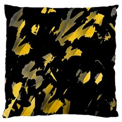 Painter Was Here   Yellow Large Flano Cushion Case (two Sides) by Valentinaart