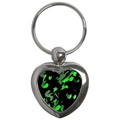 Painter Was Here   Green Key Chains (heart)  by Valentinaart