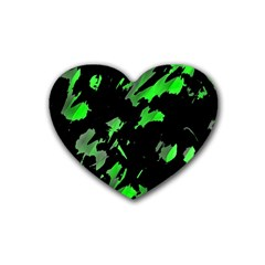 Painter Was Here   Green Heart Coaster (4 Pack)  by Valentinaart