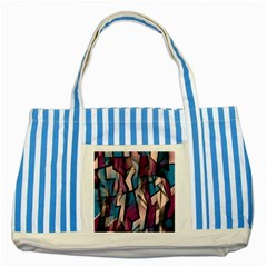 Purple High Art Striped Blue Tote Bag by Valentinaart