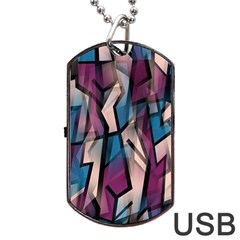 Purple High Art Dog Tag Usb Flash (two Sides)  by Valentinaart