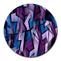 Purple Decorative Abstract Art Round Mousepads by Valentinaart