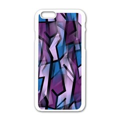 Purple Decorative Abstract Art Apple Iphone 6/6s White Enamel Case by Valentinaart