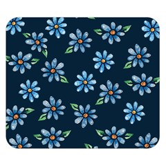Retro Blue Daisy Flowers Pattern Double Sided Flano Blanket (small)
