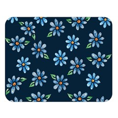Retro Blue Daisy Flowers Pattern Double Sided Flano Blanket (large)