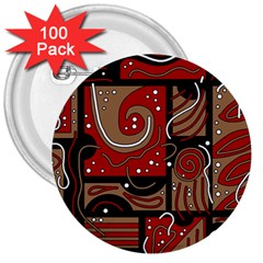 Red And Brown Abstraction 3  Buttons (100 Pack)  by Valentinaart
