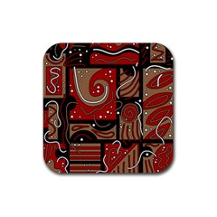 Red And Brown Abstraction Rubber Square Coaster (4 Pack)  by Valentinaart