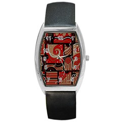 Red And Brown Abstraction Barrel Style Metal Watch by Valentinaart