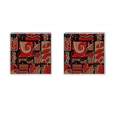 Red And Brown Abstraction Cufflinks (square) by Valentinaart