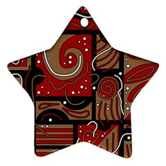 Red And Brown Abstraction Star Ornament (two Sides)  by Valentinaart