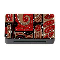 Red And Brown Abstraction Memory Card Reader With Cf by Valentinaart