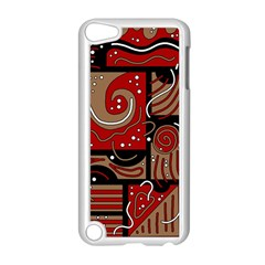 Red And Brown Abstraction Apple Ipod Touch 5 Case (white) by Valentinaart