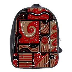 Red And Brown Abstraction School Bags (xl)  by Valentinaart