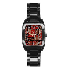 Red And Brown Abstraction Stainless Steel Barrel Watch by Valentinaart