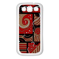 Red And Brown Abstraction Samsung Galaxy S3 Back Case (white) by Valentinaart