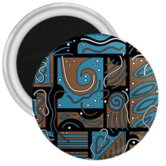 Blue And Brown Abstraction 3  Magnets by Valentinaart