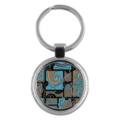 Blue And Brown Abstraction Key Chains (round)  by Valentinaart