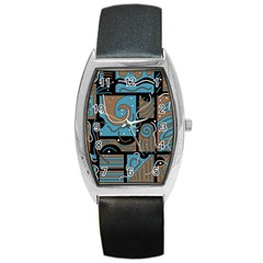Blue And Brown Abstraction Barrel Style Metal Watch by Valentinaart