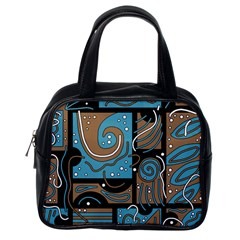 Blue And Brown Abstraction Classic Handbags (one Side) by Valentinaart