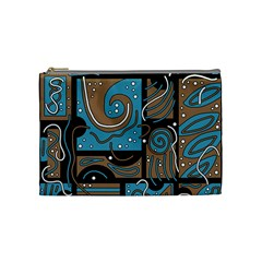 Blue And Brown Abstraction Cosmetic Bag (medium)  by Valentinaart
