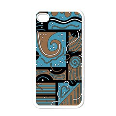 Blue And Brown Abstraction Apple Iphone 4 Case (white) by Valentinaart