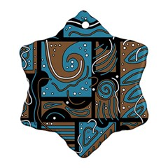 Blue And Brown Abstraction Snowflake Ornament (2 Side) by Valentinaart