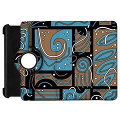 Blue And Brown Abstraction Kindle Fire Hd Flip 360 Case by Valentinaart