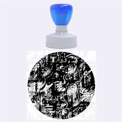 Blue Town Rubber Round Stamps (large) by Valentinaart
