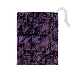 Purple Town Drawstring Pouches (large)  by Valentinaart