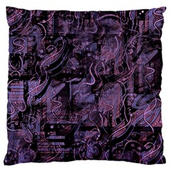 Purple Town Large Flano Cushion Case (one Side) by Valentinaart