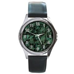 Green Town Round Metal Watch by Valentinaart