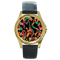 Colorful Snakes Round Gold Metal Watch by Valentinaart
